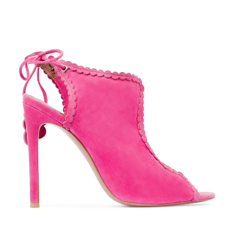 Босоножки из замши розового цвета на завязкахТуфли женские<br><br>Материал верха: Замша<br>Материал подкладки: Без подкладки<br>Материал подошвы: Кожа<br>Цвет: Розовый<br>Высота каблука: 10 см<br>Дизайн: Италия<br>Страна производства: Китай<br><br>Высота каблука: 10 см<br>Материал верха: Замша<br>Материал подошвы: Кожа<br>Цвет: Розовый<br>Вес кг: 1.00000000<br>Размер обуви: 39