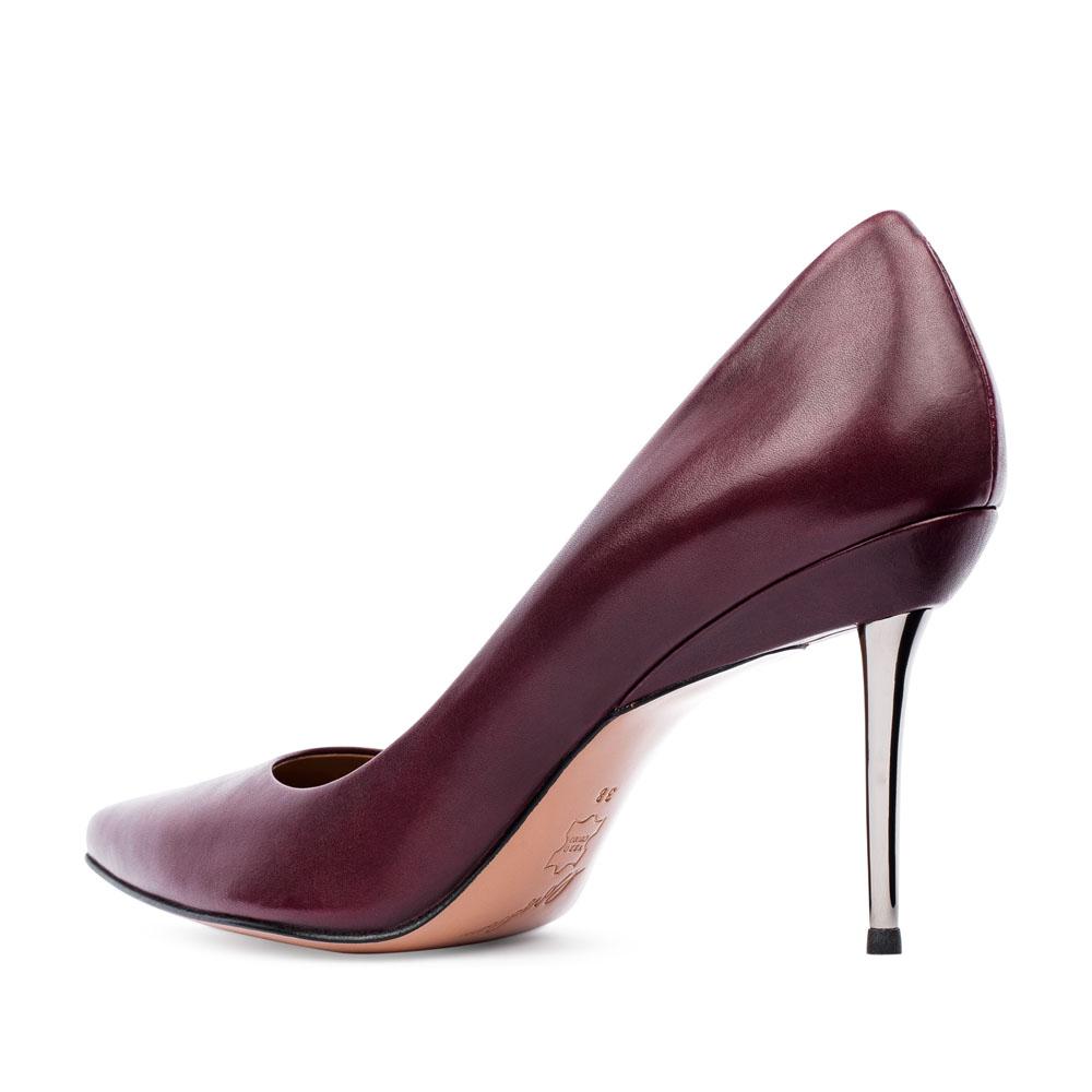 Туфли на шпильке CorsoComo (Корсо Комо) Туфли-лодочки из кожи цвета бургунди на металлическом каблуке