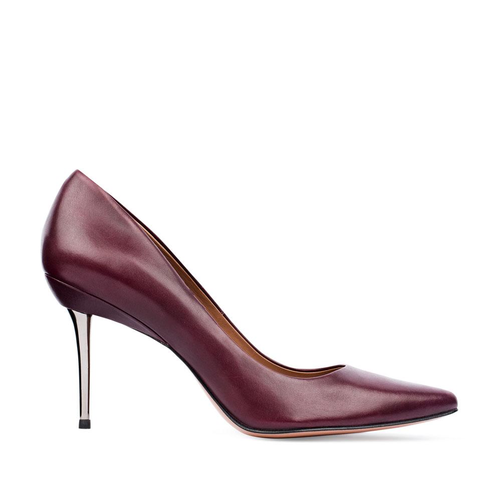 Туфли-лодочки из кожи цвета бургунди на металлическом каблуке