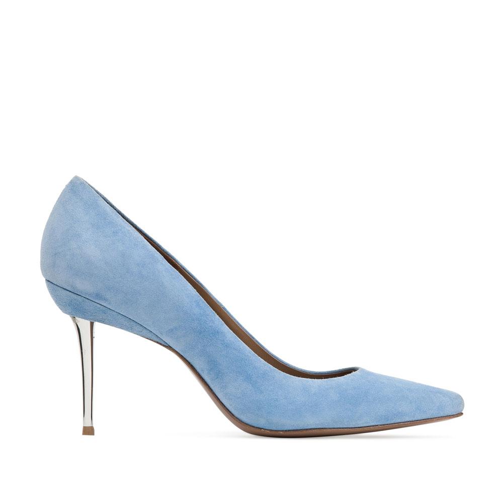Замшевые туфли-лодочки небесно-голубого цвета на металлическом каблуке