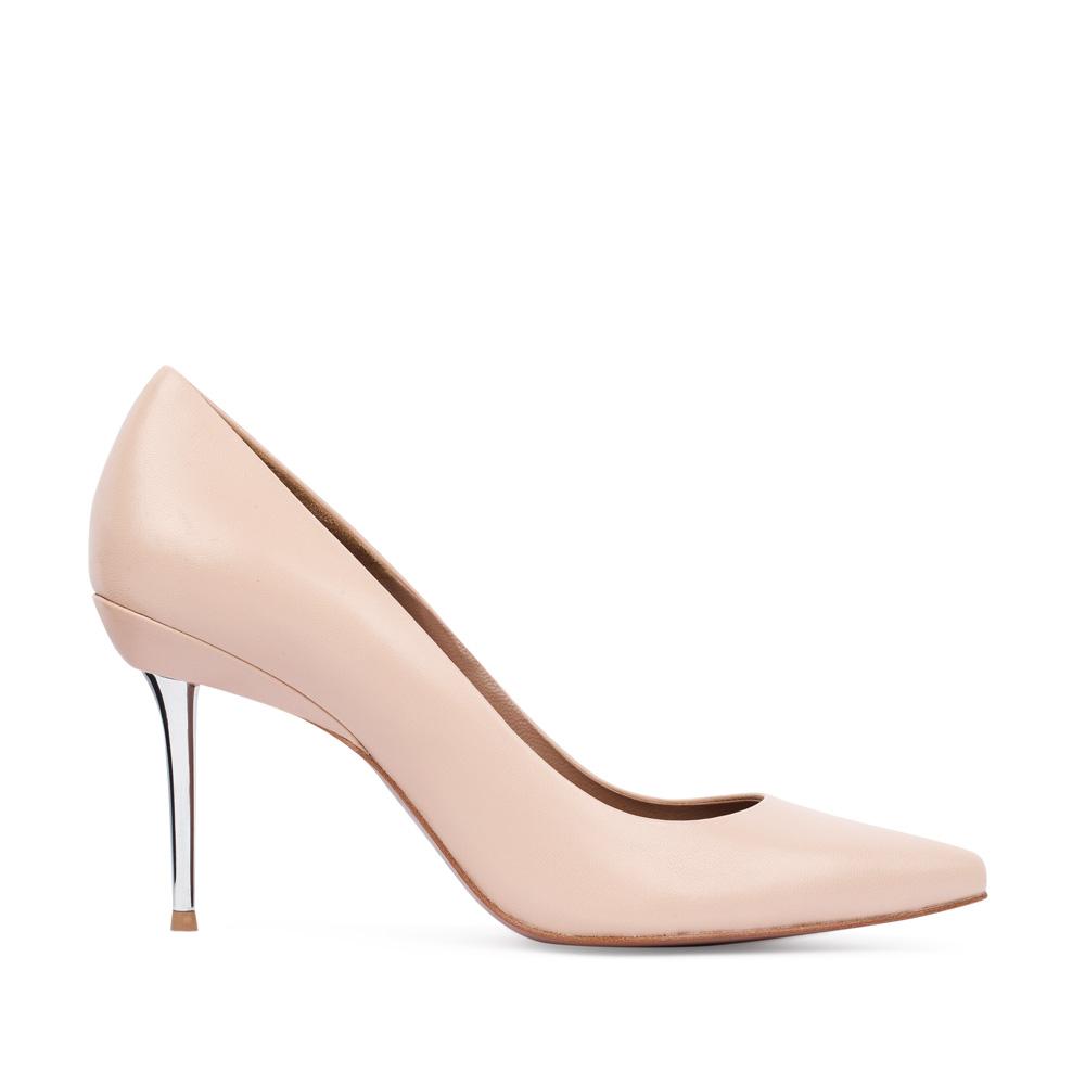 Туфли из кожи бежевого цвета на среднем металлическом каблуке