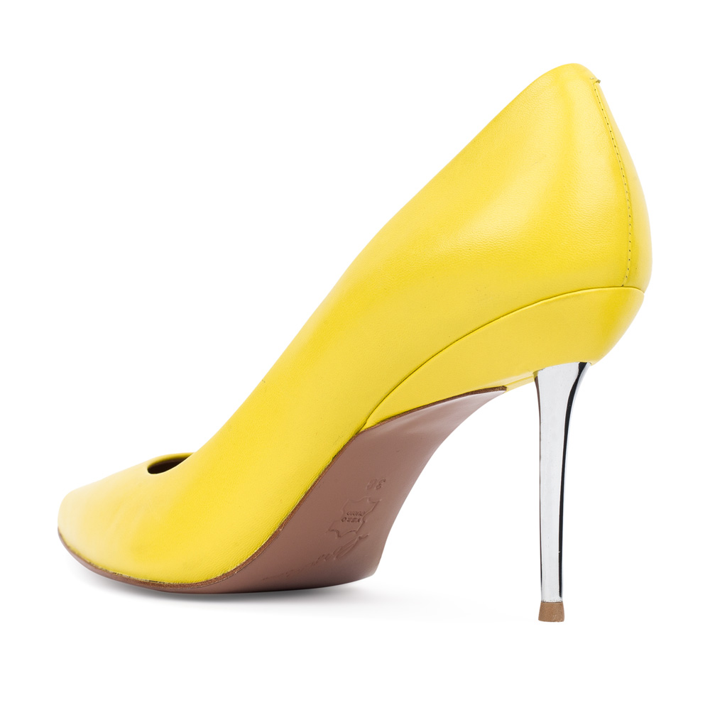 Туфли на шпильке CorsoComo (Корсо Комо) Туфли-лодочки из кожи желтого цвета на металлическом каблуке