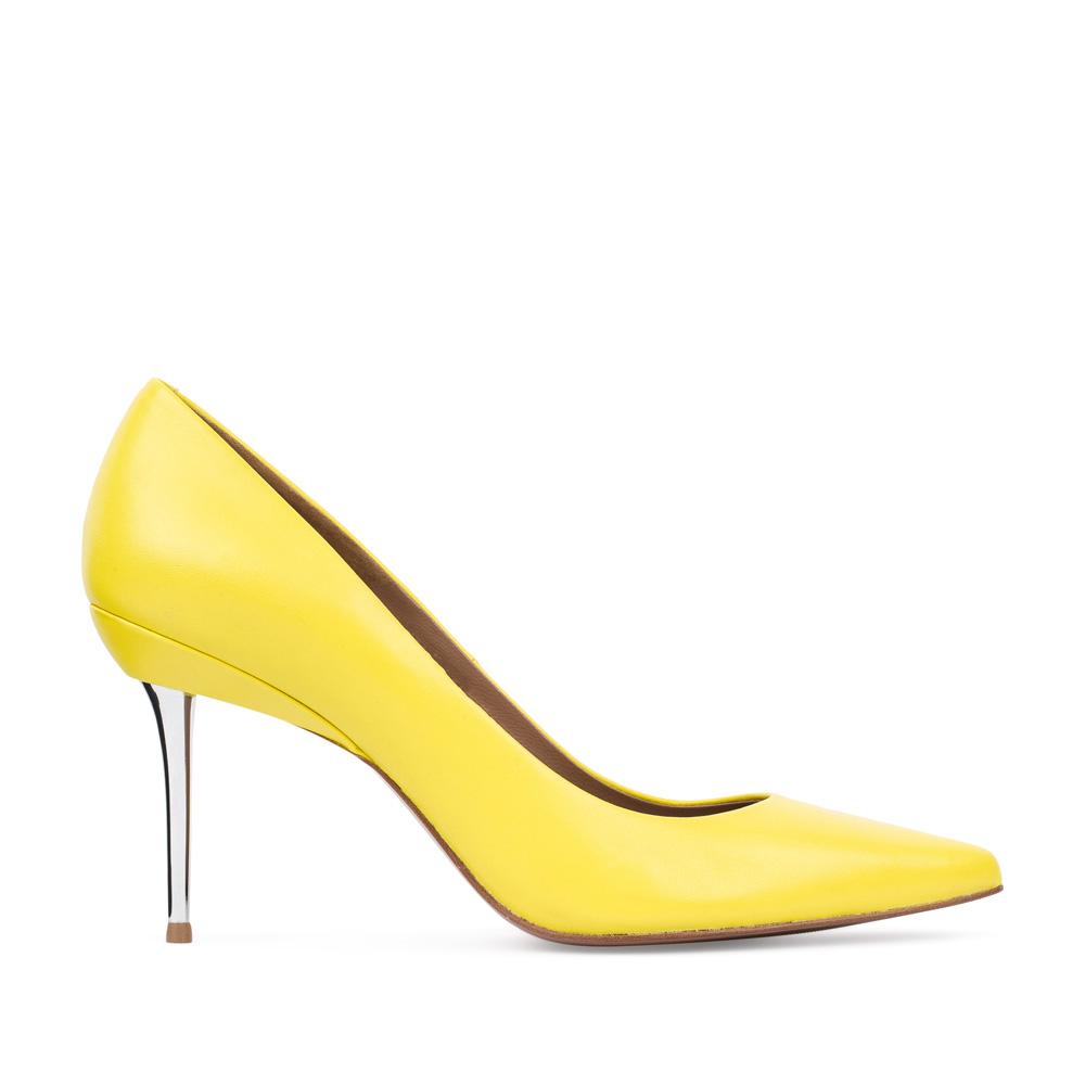Туфли-лодочки из кожи желтого цвета на металлическом каблукеТуфли женские<br><br>Материал верха: Кожа<br>Материал подкладки: Кожа<br>Материал подошвы:Кожа<br>Цвет: Желтый<br>Высота каблука: 7 см<br>Дизайн: Италия<br>Страна производства: Китай<br><br>Высота каблука: 7 см<br>Материал верха: Кожа<br>Материал подошвы: Кожа<br>Материал подкладки: Кожа<br>Цвет: Желтый<br>Вес кг: 1.00000000<br>Выберите размер обуви: 38.5