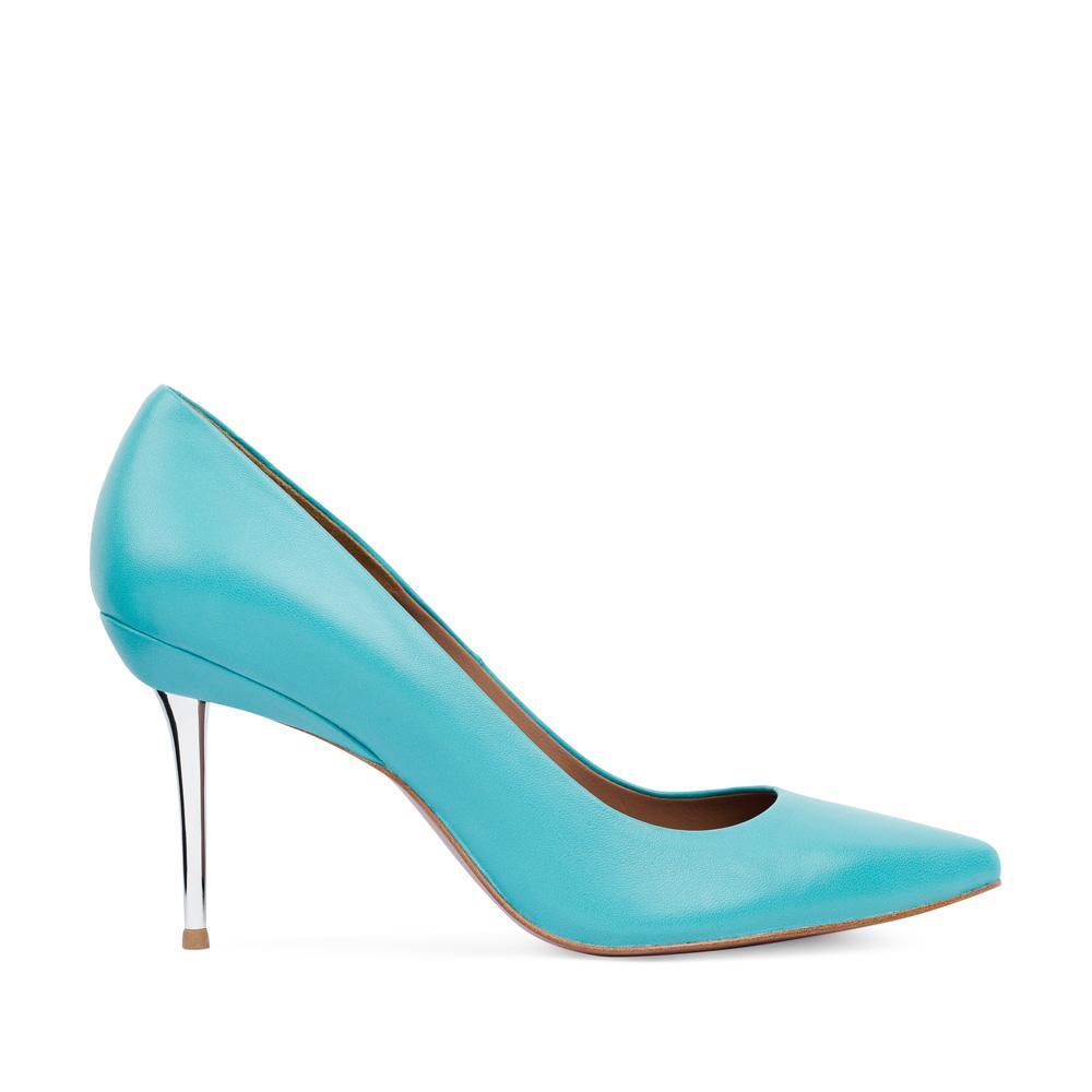 Туфли-лодочки из кожи голубого цвета на металлическом каблукеТуфли женские<br><br>Материал верха: Кожа<br>Материал подкладки: Кожа<br>Материал подошвы:Кожа<br>Цвет: Голубой<br>Высота каблука: 8см<br>Дизайн: Италия<br>Страна производства: Китай<br><br>Высота каблука: 8 см<br>Материал верха: Кожа<br>Материал подошвы: Кожа<br>Материал подкладки: Кожа<br>Цвет: Голубой<br>Вес кг: 1.00000000<br>Выберите размер обуви: 37.5