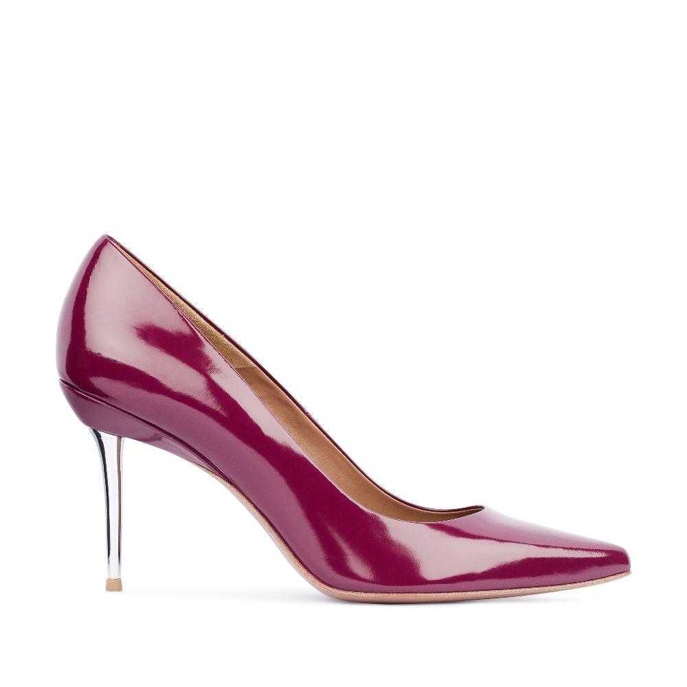 Туфли цвета амарант на металлическом каблуке