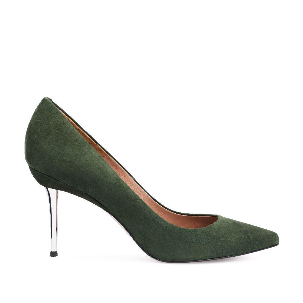 Туфли-лодочки из нубука темно-зеленого цвета