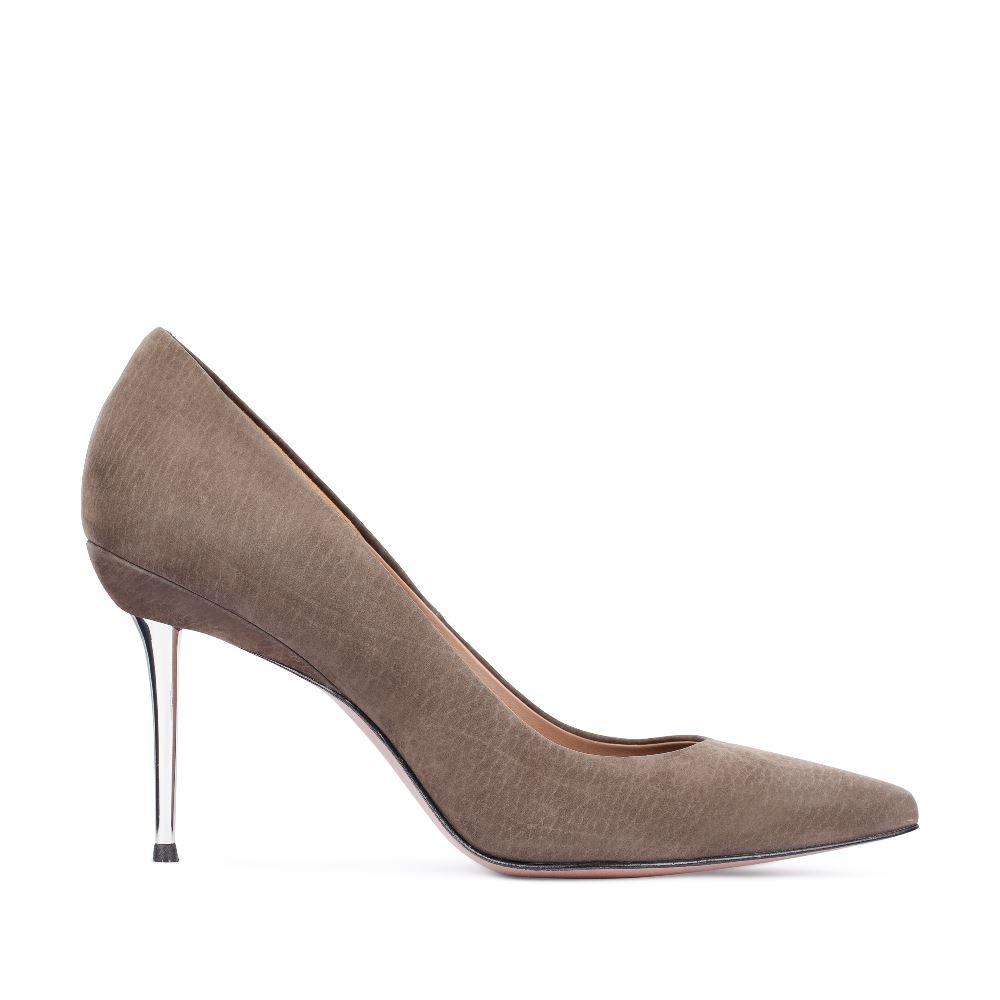 Туфли-лодочки из нубука трюфельного цвета