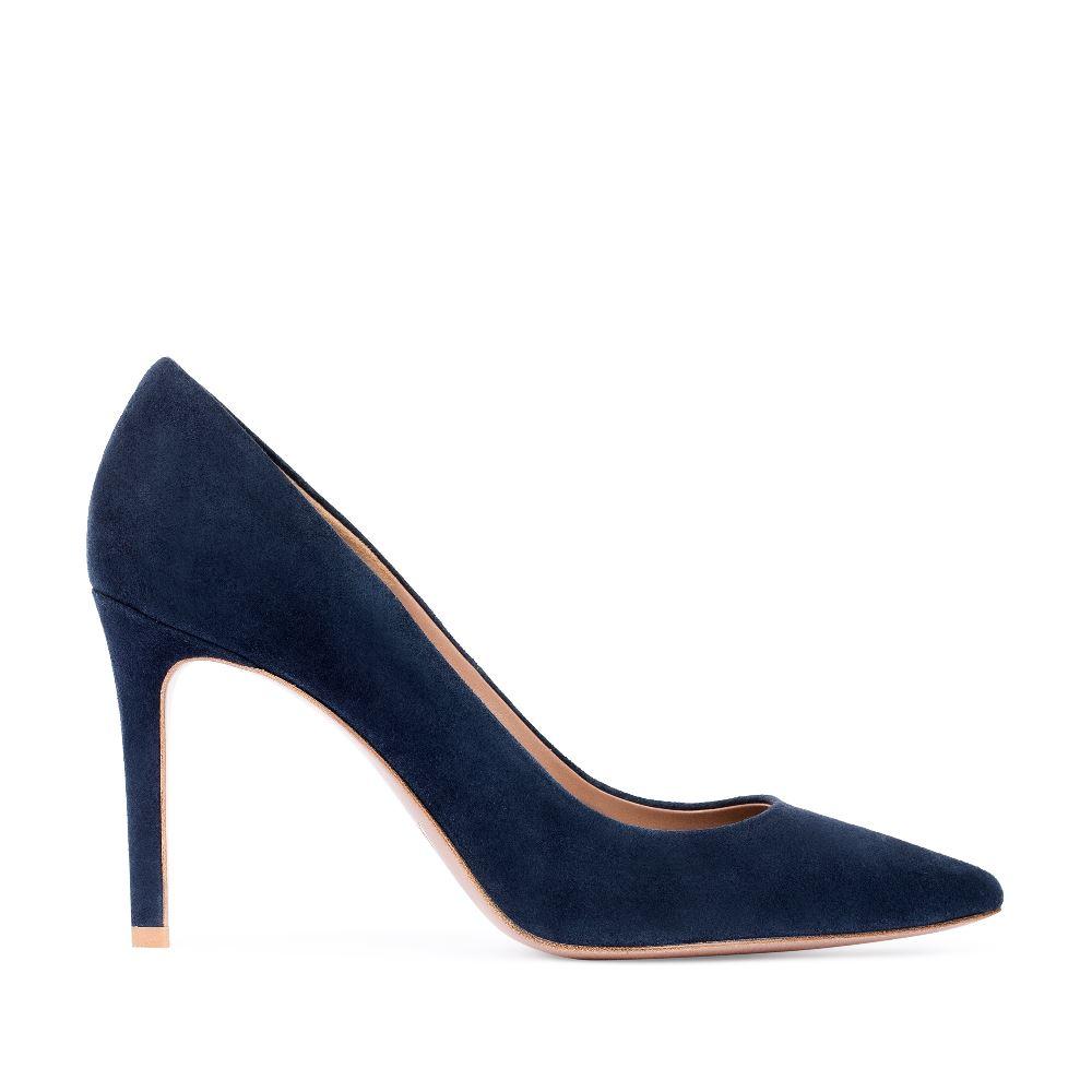 Замшевые туфли-лодочки синего цвета