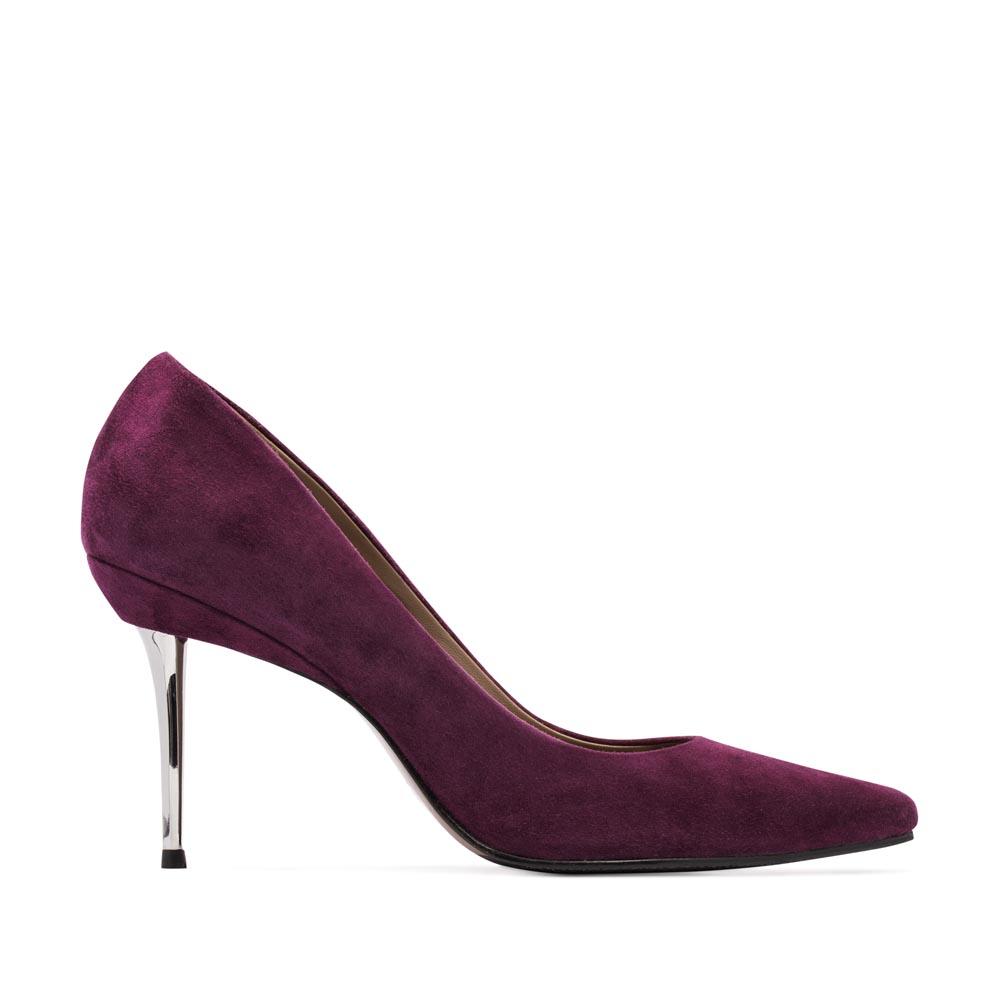 Замшевые туфли-лодочки пурпурного цвета на металлическом каблуке