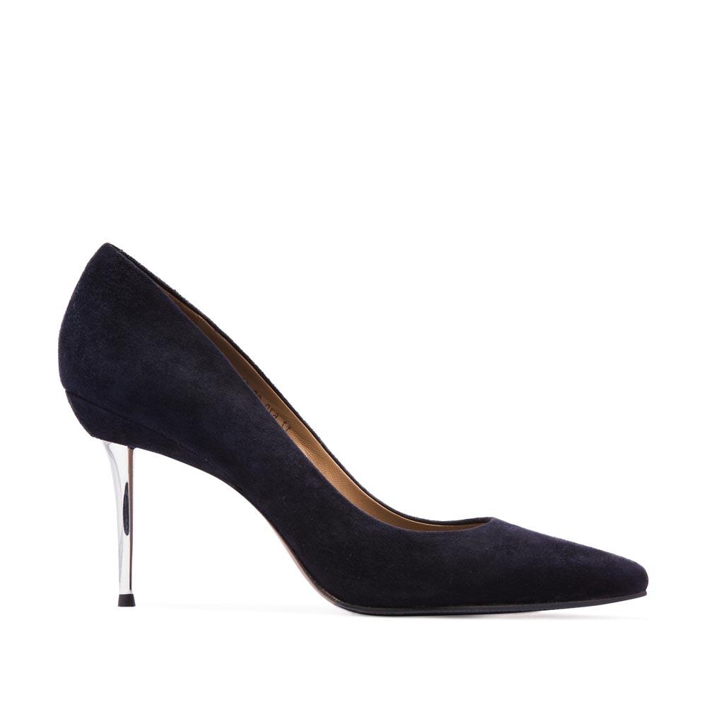 Замшевые туфли-лодочки цвета темного моря на металлическом каблуке