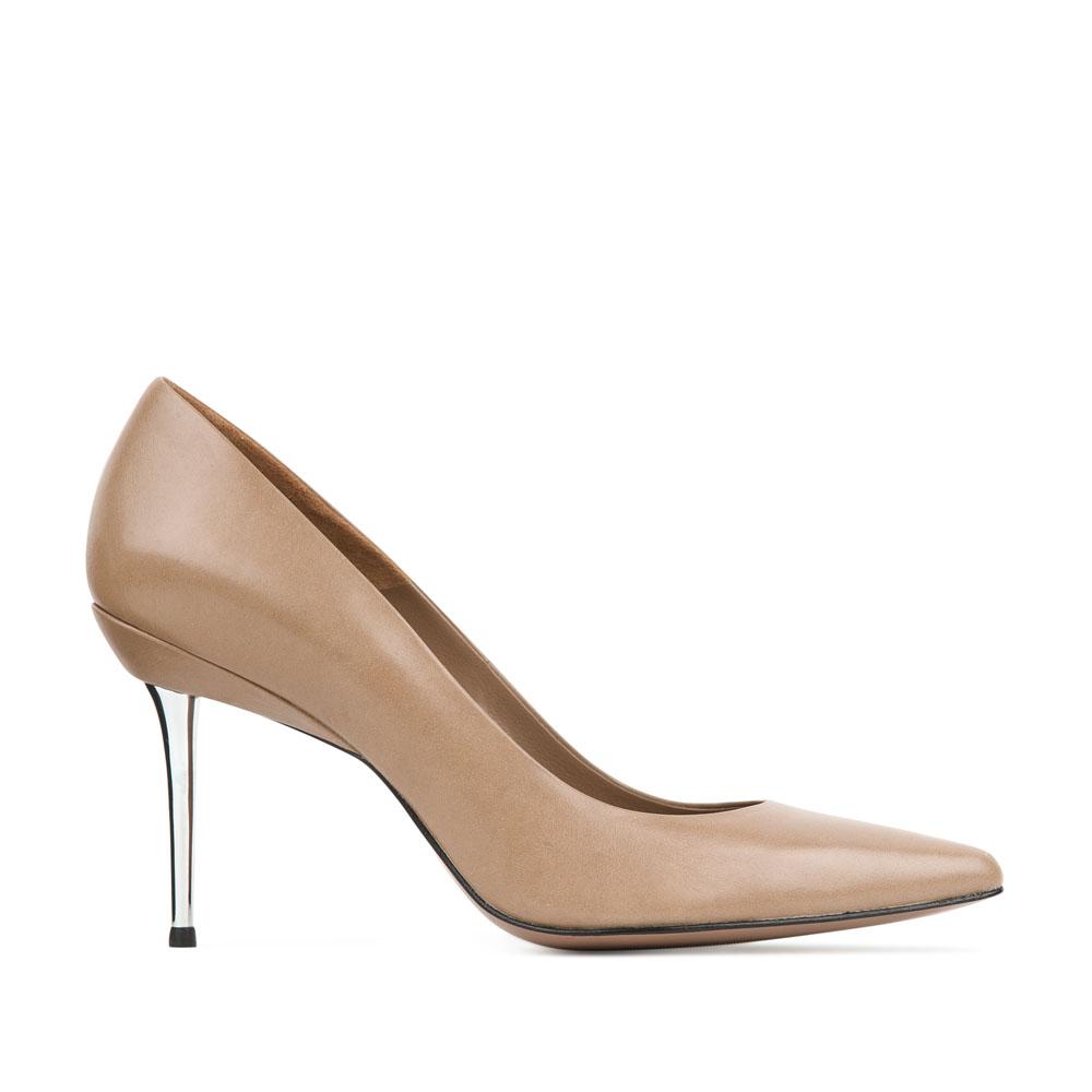 Кожаные туфли-лодочки бежевого цвета на металлическом каблуке