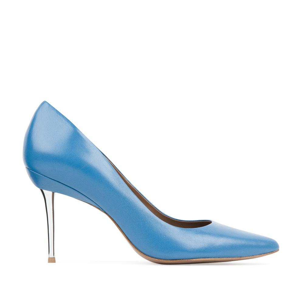 Кожаные туфли-лодочки лазурного цвета на металлическом каблуке