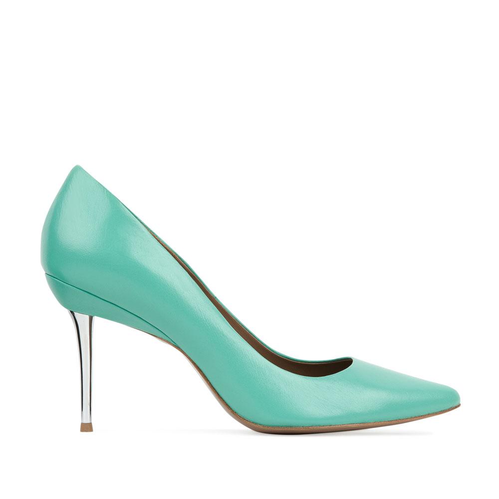Кожаные туфли-лодочки мятного цвета на металлическом каблуке