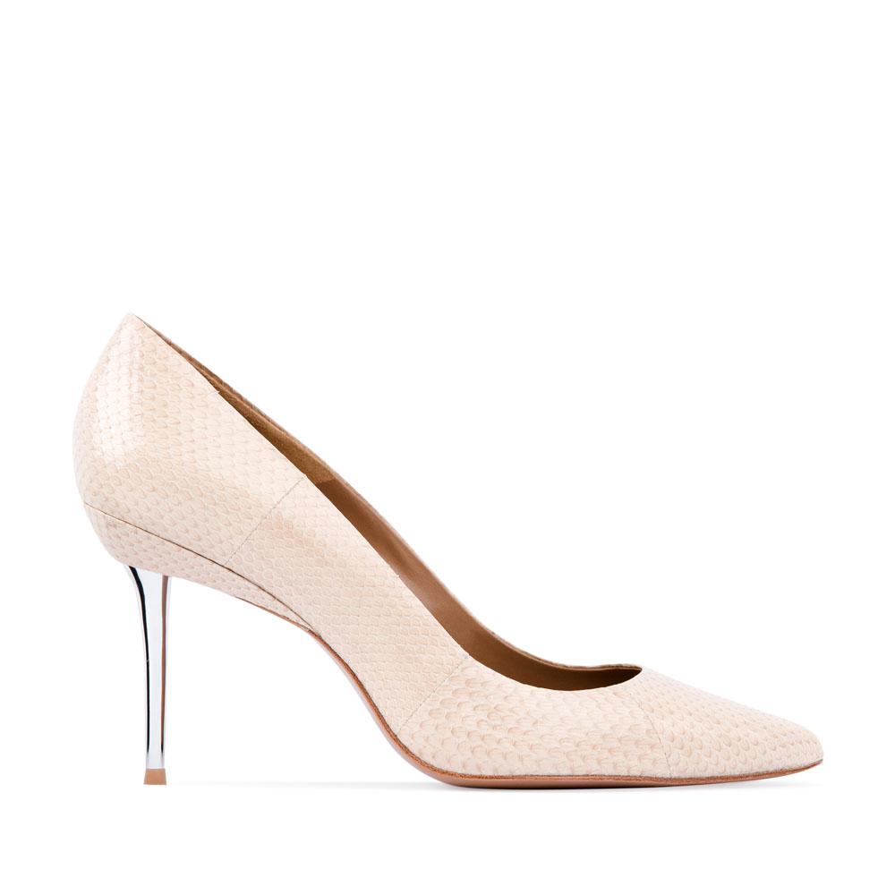 Туфли-лодочки из кожи змеи сливочного цвета на металлическом каблуке