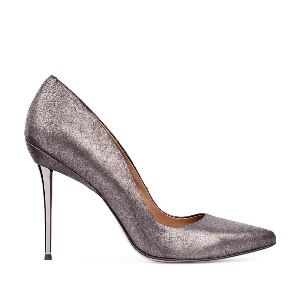 Туфли-лодочки из кожи стального цвета на металлическом каблуке 17-675-01-02-485
