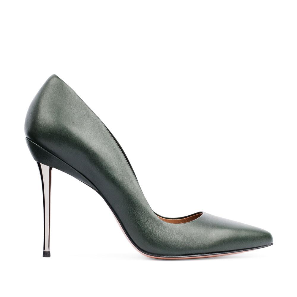 Туфли-лодочки из кожи изумрудного цвета на металлическом каблуке