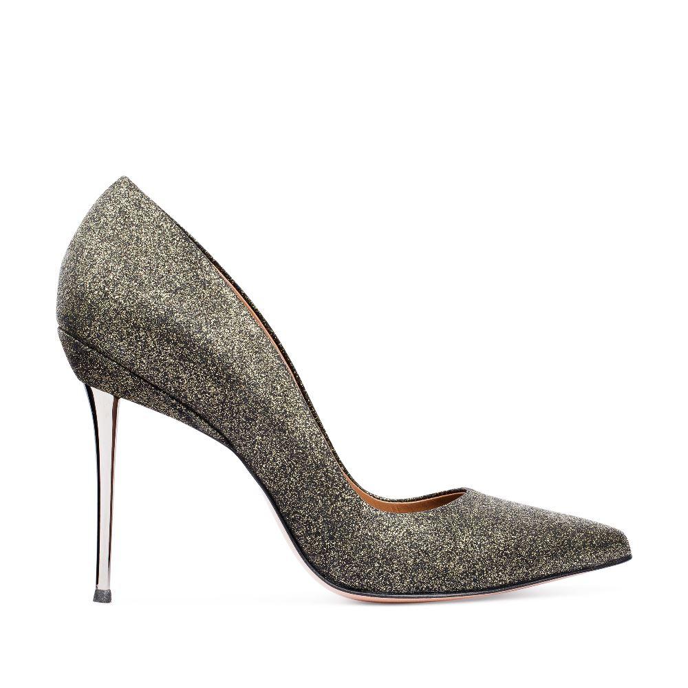 Туфли-лодочки из металлизированной кожи золотистого цвета