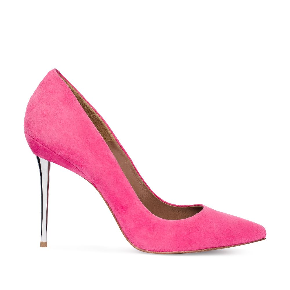 Туфли из замши розового цвета на металлическом каблуке