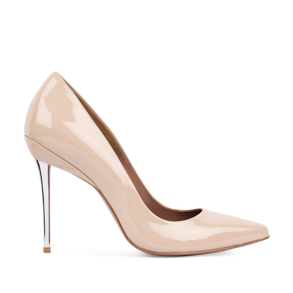 Туфли из лакированной кожи бежевого цвета на металлическом каблуке