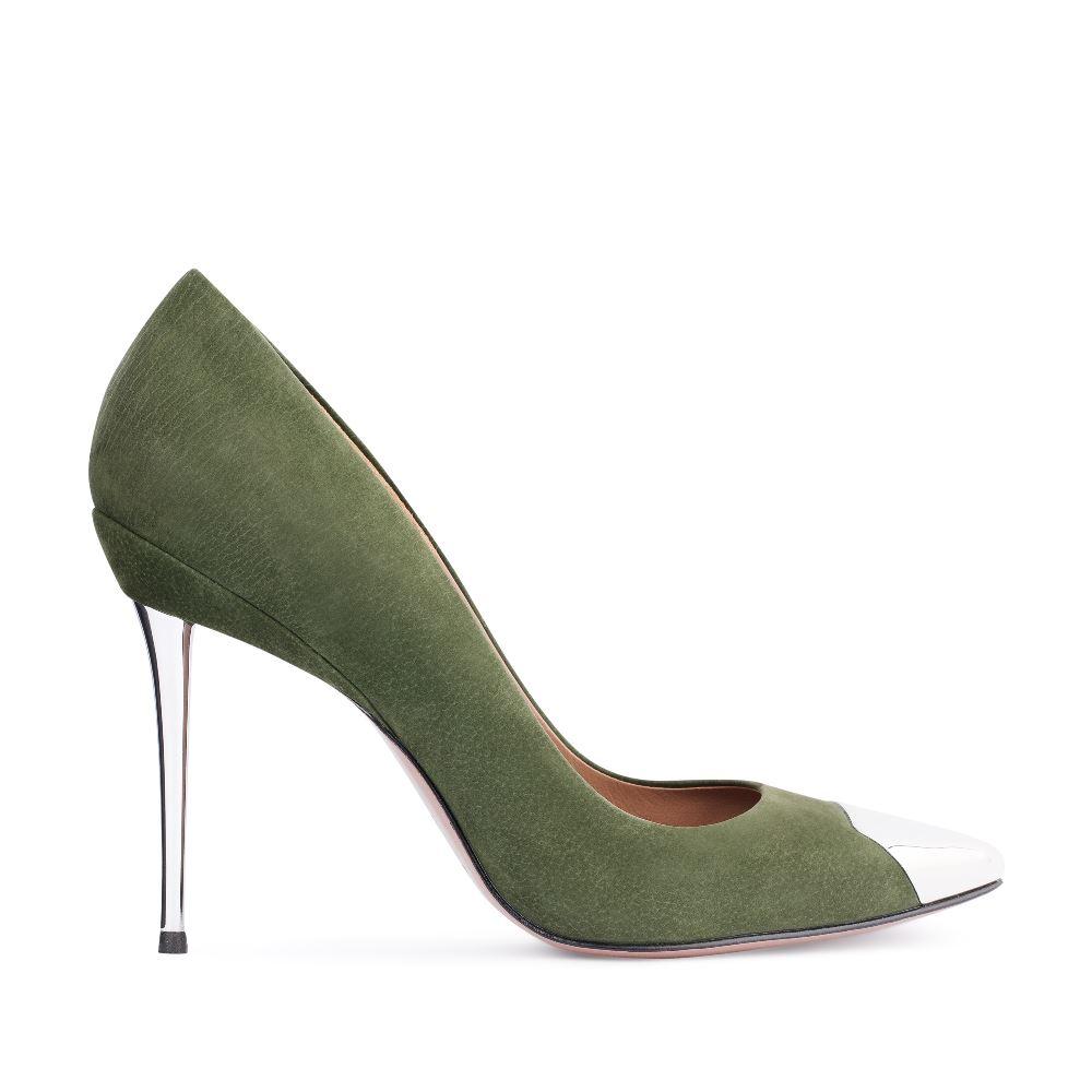 Туфли-лодочки из нубука зеленого цвета с металлической детальюТуфли<br><br>Материал верха: Нубук<br>Материал подкладки: Кожа<br>Материал подошвы: Кожа<br>Цвет: Зеленый<br>Высота каблука: 11 см<br>Дизайн: Италия<br>Страна производства: Китай<br><br>Высота каблука: 11 см<br>Материал верха: Нубук<br>Материал подкладки: Кожа<br>Цвет: Зеленый<br>Пол: Женский<br>Вес кг: 520.00000000<br>Размер: 36