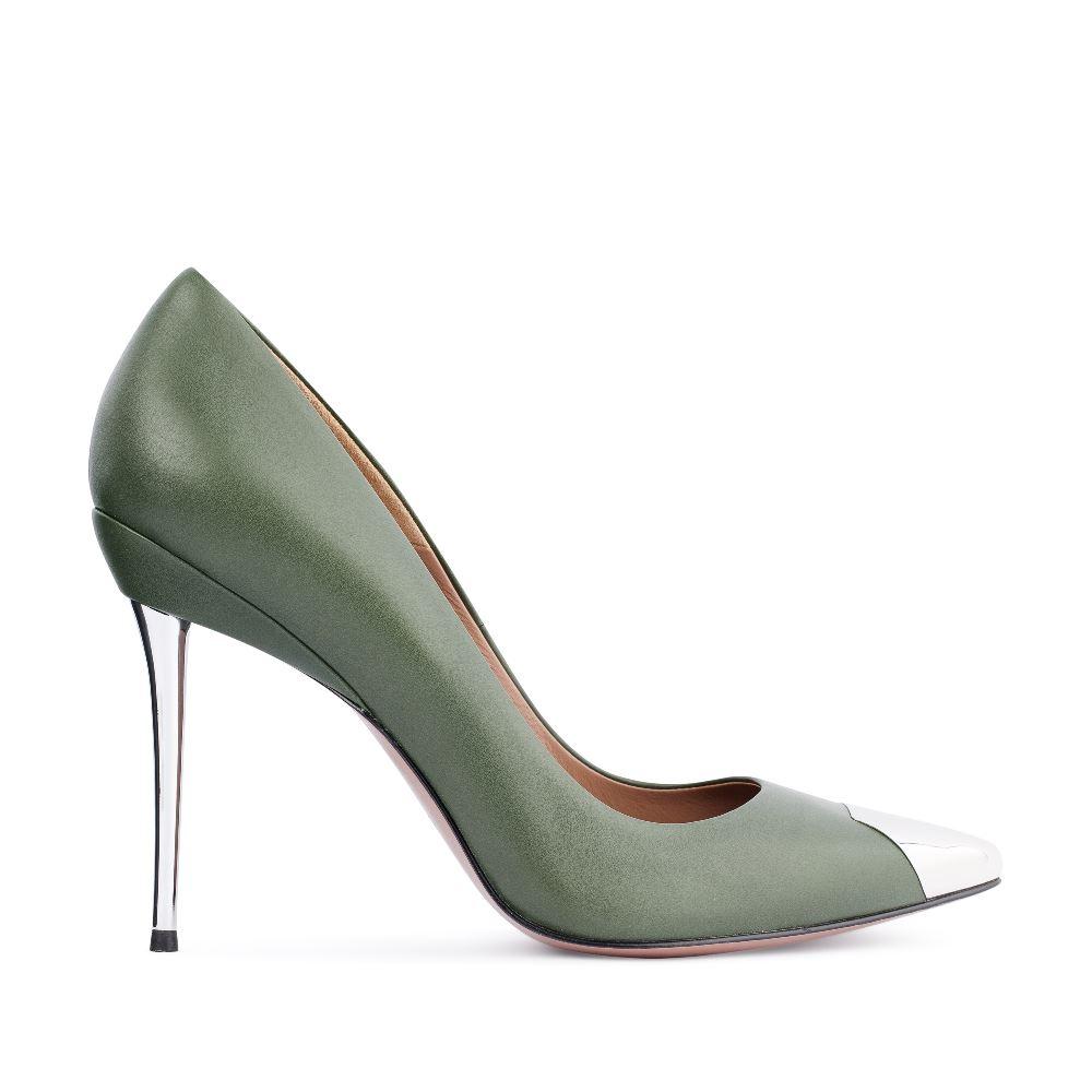 Туфли цвета хаки на металлическом каблукеТуфли<br><br>Материал верха: Кожа<br>Материал подкладки: Кожа<br>Материал подошвы: Кожа<br>Цвет: Зеленый<br>Высота каблука: 11 см<br>Дизайн: Италия<br>Страна производства: Китай<br><br>Высота каблука: 11 см<br>Материал верха: Кожа<br>Материал подкладки: Кожа<br>Цвет: Зеленый<br>Пол: Женский<br>Вес кг: 520.00000000<br>Выберите размер обуви: 38