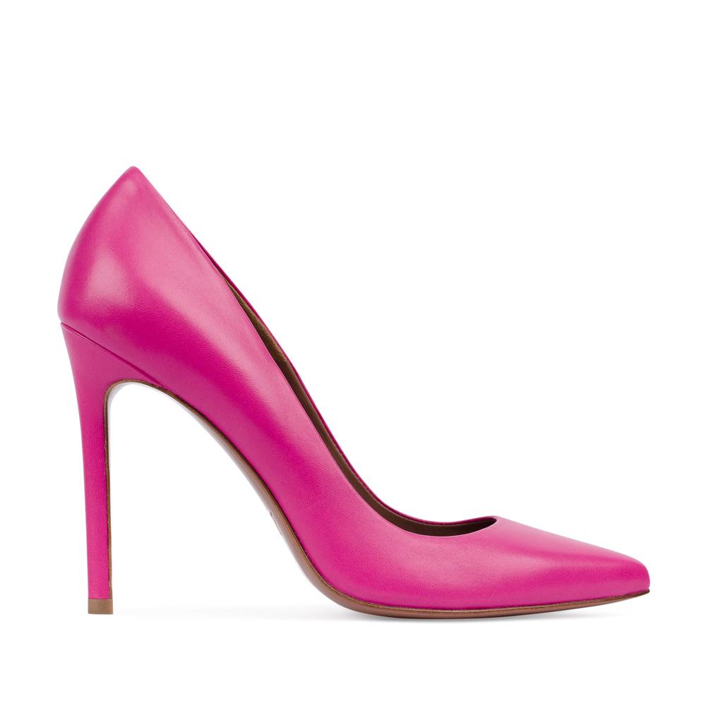 Туфли-лодочки из кожи розового цветаТуфли женские<br><br>Материал верха: Кожа<br>Материал подкладки: Кожа<br>Материал подошвы:Кожа<br>Цвет: Розовый<br>Высота каблука: 11 см<br>Дизайн: Италия<br>Страна производства: Китай<br><br>Высота каблука: 11 см<br>Материал верха: Кожа<br>Материал подошвы: Кожа<br>Материал подкладки: Кожа<br>Цвет: Розовый<br>Вес кг: 1.00000000<br>Размер: 38.5
