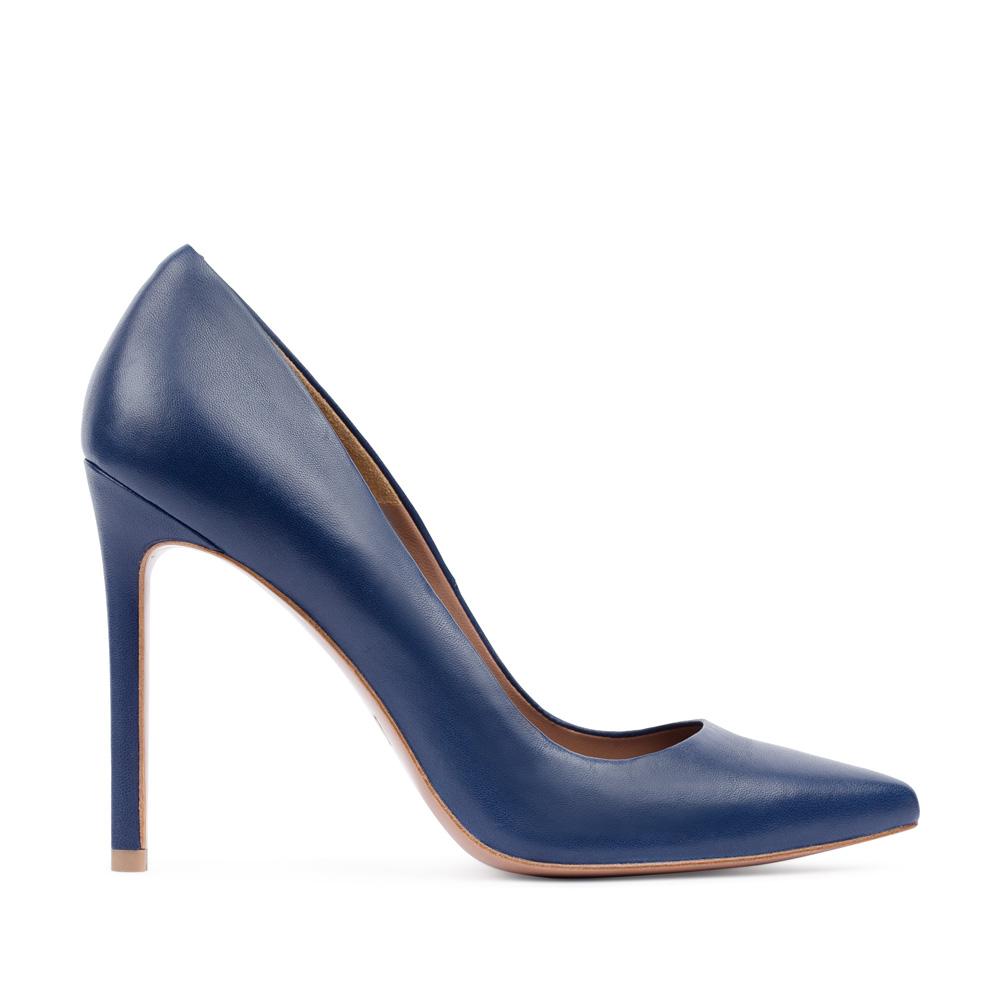 Туфли-лодочки из кожи темно-синего цвета