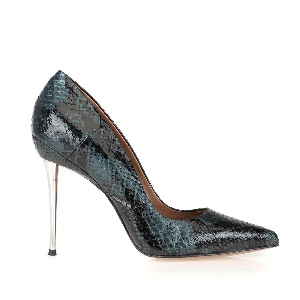 Туфли из кожи змеи изумрудного цвета на металлическом каблуке