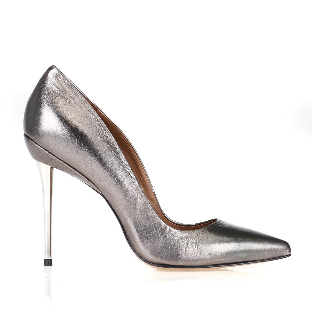 Туфли кожаные серебристые на шпильке