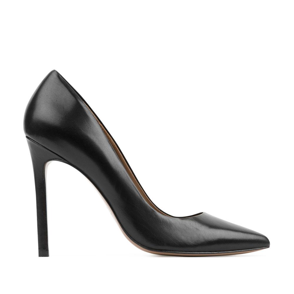 Кожаные туфли-лодочки черного цветаТуфли женские<br><br>Материал верха: Кожа<br>Материал подкладки: Кожа<br>Материал подошвы: Кожа<br>Цвет: Черный<br>Высота каблука: 11 см<br>Дизайн: Италия<br>Страна производства: Китай<br><br>Высота каблука: 11 см<br>Материал верха: Кожа<br>Материал подошвы: Кожа<br>Материал подкладки: Кожа<br>Цвет: Черный<br>Пол: Женский<br>Вес кг: 0.48000000<br>Размер обуви: 38.5