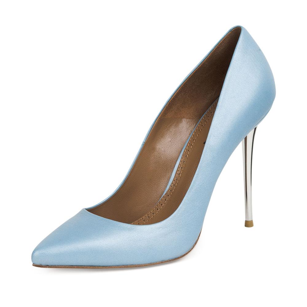 Туфли на шпильке CorsoComo (Корсо Комо) Кожаные туфли-лодочки небесно-голубого цвета на металлическом каблуке