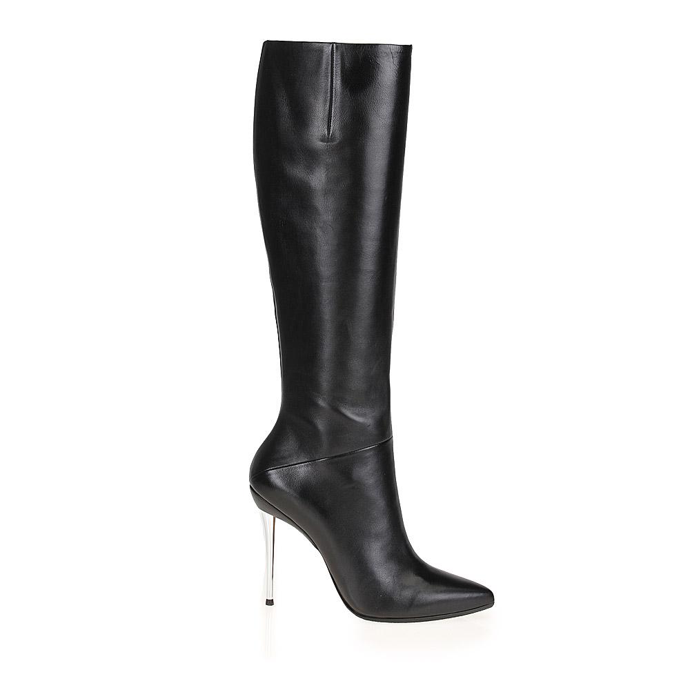 CORSOCOMO Высокие сапоги из кожи черного цвета на металлическом каблуке 17-677-16-25