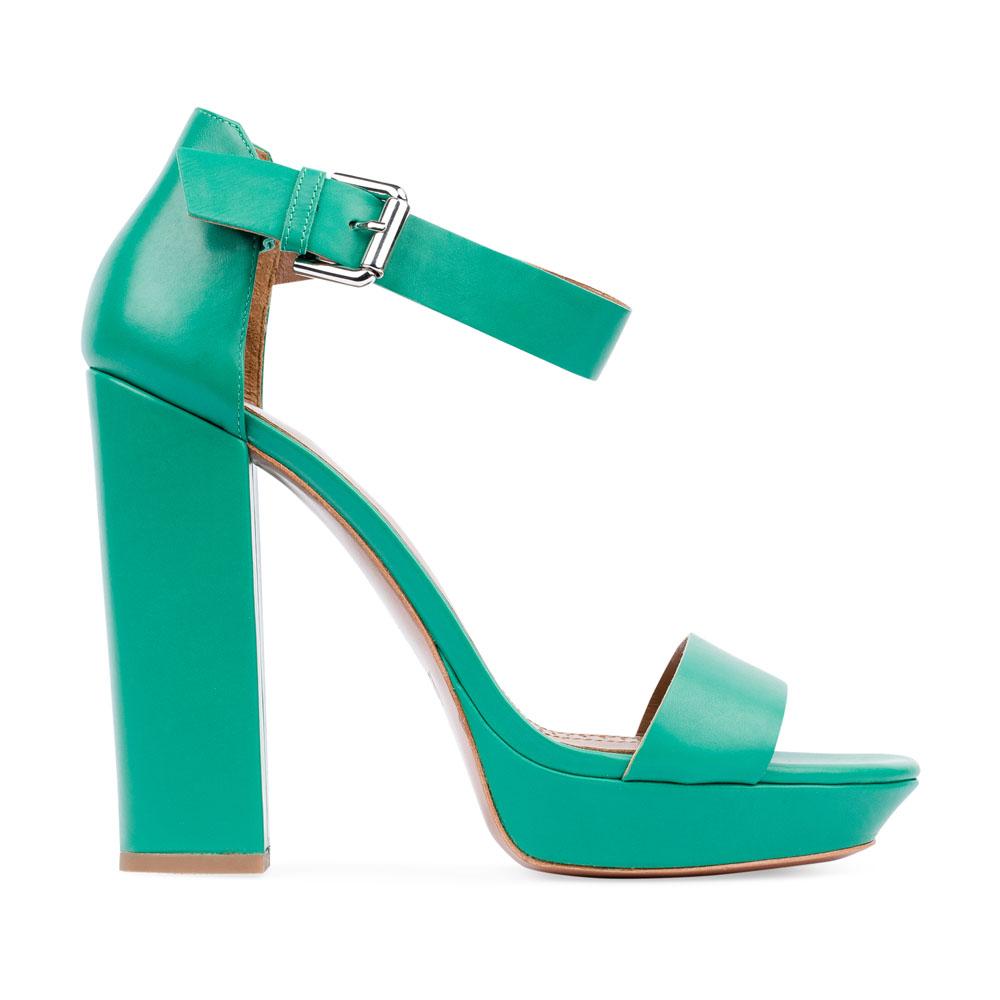 Босоножки из кожи бирюзового цвета на массивном каблукеТуфли женские<br><br>Материал верха: Кожа<br>Материал подкладки: Кожа<br>Материал подошвы: Кожа<br>Цвет: Зеленый<br>Высота каблука: 14 см<br>Дизайн: Италия<br>Страна производства: Китай<br><br>Высота каблука: 14 см<br>Материал верха: Кожа<br>Материал подкладки: Кожа<br>Цвет: Зеленый<br>Вес кг: 0.69000000<br>Выберите размер обуви: 37