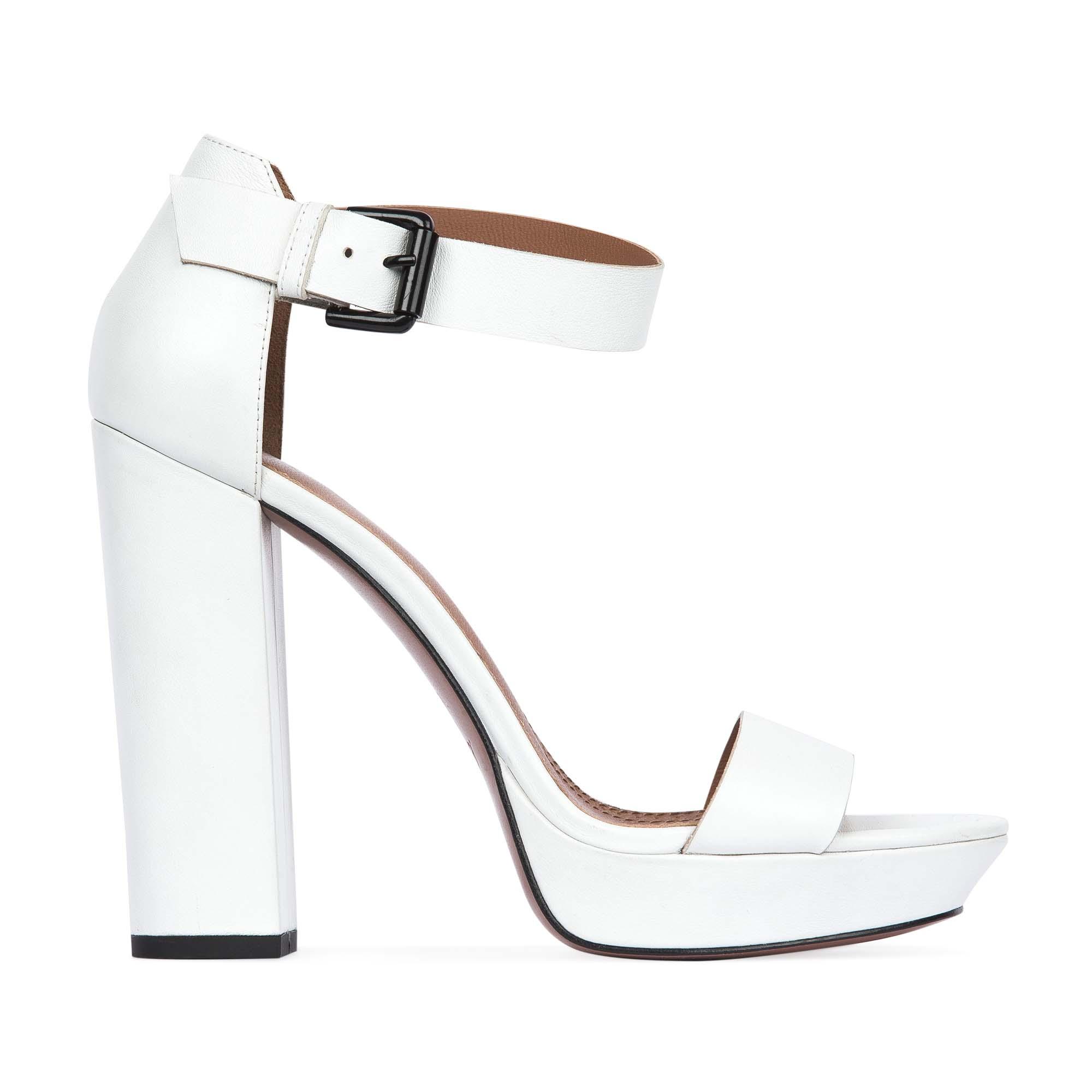 Босоножки на высоком каблуке белого цветаТуфли женские<br><br>Материал верха: Кожа<br>Материал подкладки: Кожа<br>Материал подошвы: Кожа<br>Цвет: Белый<br>Высота каблука: 14см<br>Дизайн: Италия<br>Страна производства: Китай<br><br>Высота каблука: 14 см<br>Материал верха: Кожа<br>Материал подкладки: Кожа<br>Цвет: Белый<br>Вес кг: 0.62000000<br>Выберите размер обуви: 38