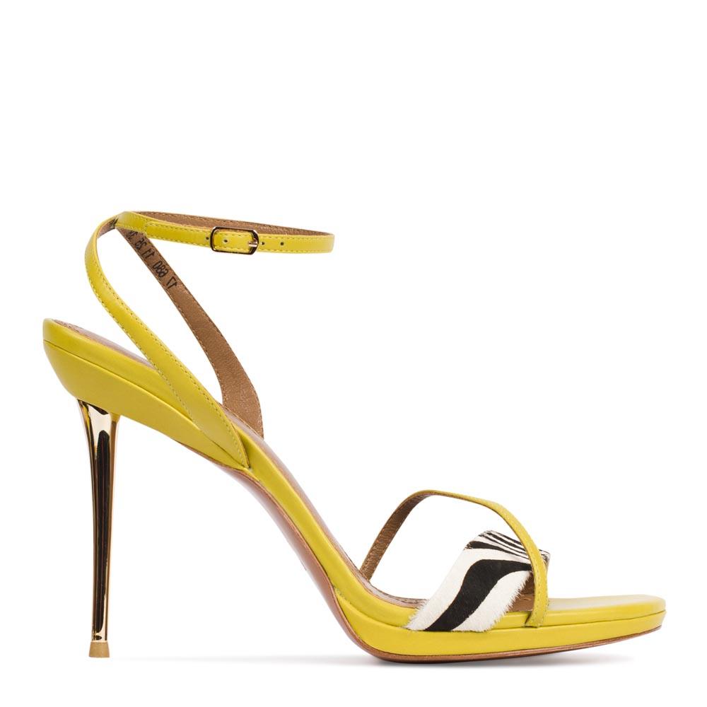 Босоножки из кожи канареечного цвета с вставкой из меха пониТуфли женские<br><br>Материал верха: Кожа<br>Материал подкладки: Кожа<br>Материал подошвы: Кожа<br>Цвет: Желтый<br>Высота каблука: 11см<br>Дизайн: Италия<br>Страна производства: Китай<br><br>Высота каблука: 11 см<br>Материал верха: Кожа<br>Материал подкладки: Кожа<br>Цвет: Желтый<br>Пол: Женский<br>Вес кг: 1.00000000<br>Выберите размер обуви: 40