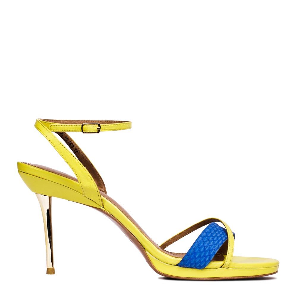 Босоножки из кожи желтого цвета на металлическом каблукеТуфли женские<br><br>Материал верха: Кожа<br>Материал подкладки: Кожа<br>Материал подошвы: Кожа<br>Цвет: Желтый<br>Высота каблука: 9см<br>Дизайн: Италия<br>Страна производства: Китай<br><br>Обратите внимание: модель, представленная в последнем<br>размере, может иметь незначительные изъяны (неглубокие царапины,<br>потертости, легкое выцветание, повреждения упаковки).<br><br>Высота каблука: 9 см<br>Материал верха: Кожа<br>Материал подкладки: Кожа<br>Цвет: Желтый<br>Пол: Женский<br>Вес кг: 1.00000000<br>Выберите размер обуви: 40**