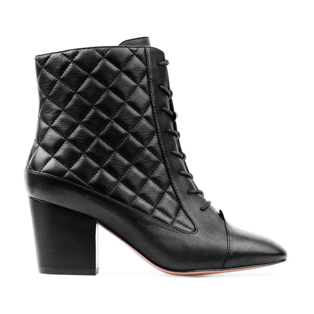Ботинки из стеганой кожи черного цвета на среднем каблуке