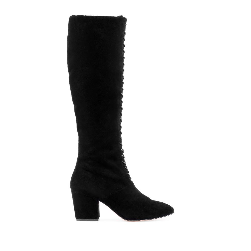 Купить со скидкой Сапоги из замши черного цвета на шнуровке и среднем каблуке