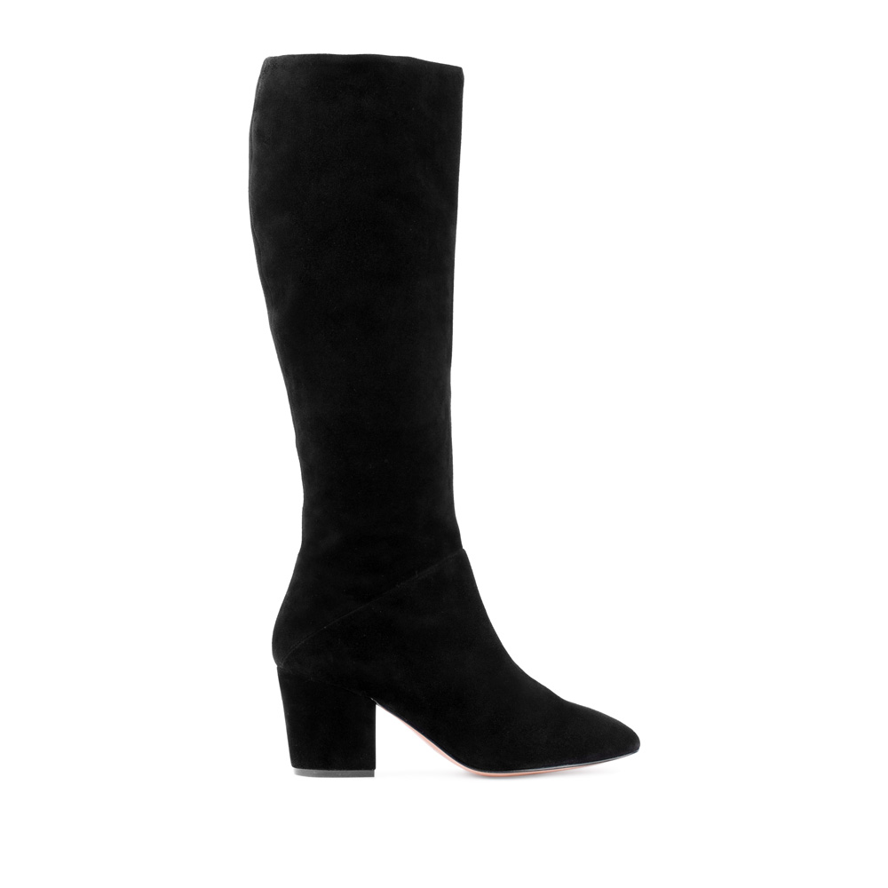 Сапоги из замши черного цвета на среднем каблукеСапоги женские<br><br>Материал верха: Замша<br>Материал подкладки: Текстиль<br>Материал подошвы: Кожа<br>Цвет: Черный<br>Высота каблука: 6 см<br>Дизайн: Италия<br>Страна производства: Китай<br><br>Высота каблука: 6 см<br>Материал верха: Замша<br>Материал подошвы: Кожа<br>Материал подкладки: Текстиль<br>Цвет: Черный<br>Вес кг: 1.00000000<br>Размер обуви: 38.5