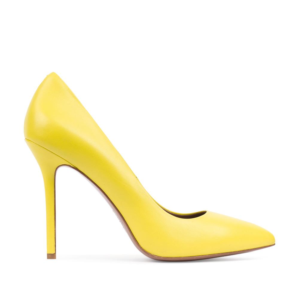 Туфли-лодочки из кожи желтого цветаТуфли женские<br><br>Материал верха: Кожа<br>Материал подкладки: Кожа<br>Материал подошвы:Кожа<br>Цвет: Желтый<br>Высота каблука: 11 см<br>Дизайн: Италия<br>Страна производства: Китай<br><br>Высота каблука: 11 см<br>Материал верха: Кожа<br>Материал подошвы: Кожа<br>Материал подкладки: Кожа<br>Цвет: Желтый<br>Вес кг: 1.00000000<br>Выберите размер обуви: 37**