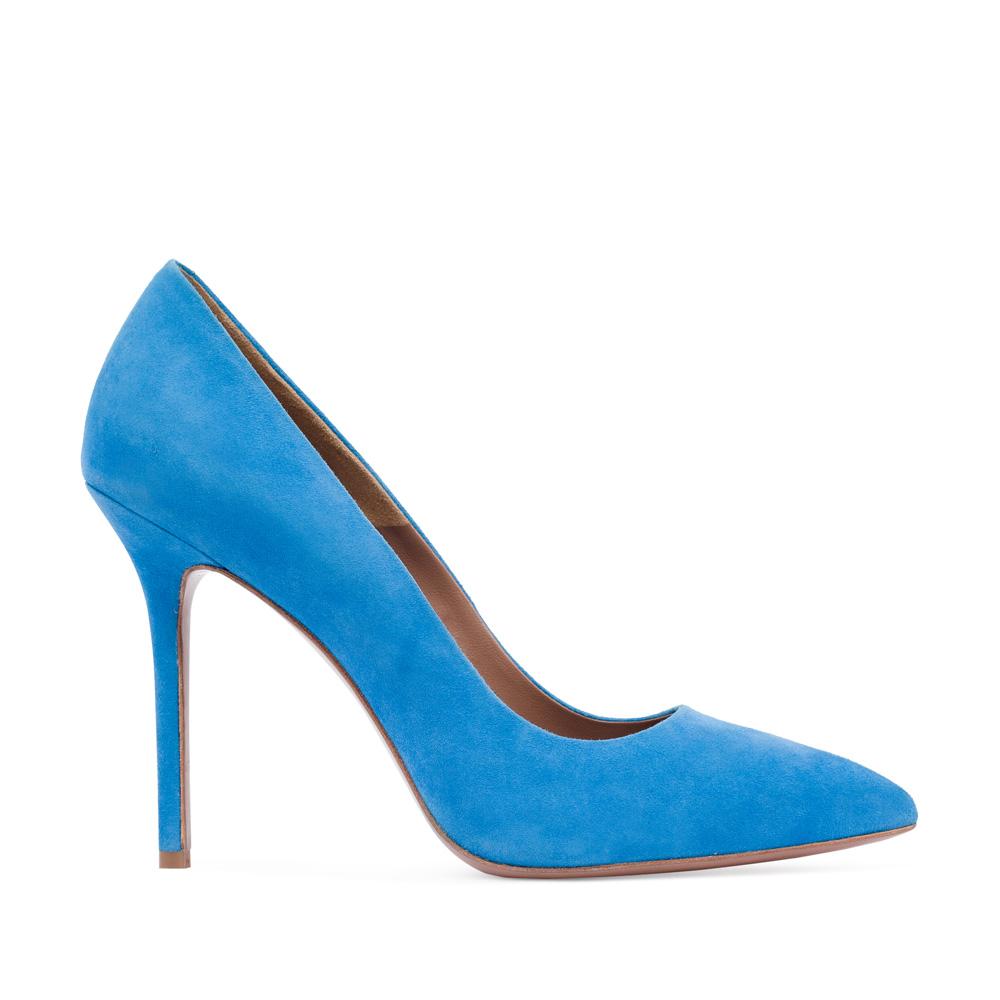 Туфли-лодочки из замши голубого цветаТуфли женские<br><br>Материал верха: Замша<br>Материал подкладки: Кожа<br>Материал подошвы: Кожа<br>Цвет: Голубой<br>Высота каблука: 11 см<br>Дизайн: Италия<br>Страна производства: Китай<br><br>Высота каблука: 11 см<br>Материал верха: Замша<br>Материал подошвы: Кожа<br>Материал подкладки: Кожа<br>Цвет: Голубой<br>Вес кг: 1.00000000<br>Выберите размер обуви: 39