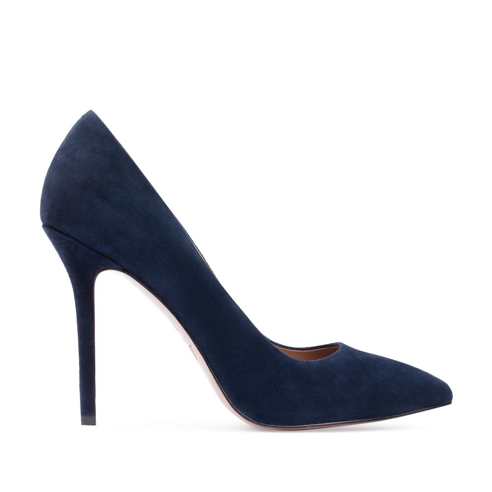 Туфли-лодочки из замши темно-синего цвета