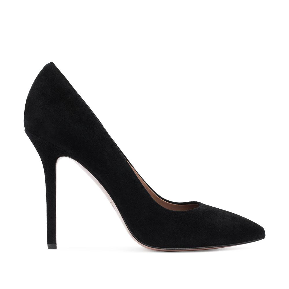 Замшевые туфли-лодочки черного цвета