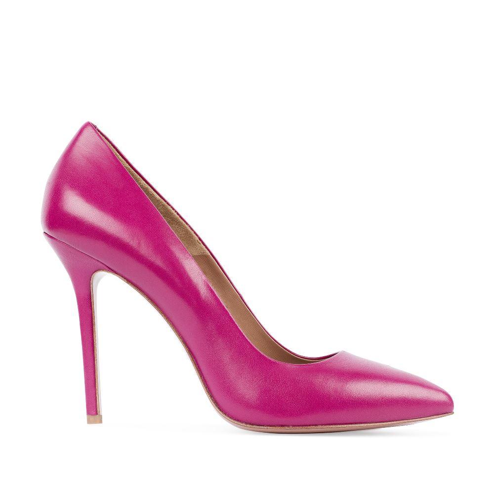 Туфли-лодочки из кожи цвета фуксии на высоком каблукеТуфли<br><br>Материал верха: Кожа<br>Материал подкладки: Кожа<br>Материал подошвы: Кожа<br>Цвет: Розовый<br>Высота каблука: 11 см<br>Дизайн: Италия<br>Страна производства: Китай<br><br>Высота каблука: 11 см<br>Материал верха: Кожа<br>Материал подкладки: Кожа<br>Цвет: Розовый<br>Пол: Женский<br>Вес кг: 460.00000000<br>Размер: 39