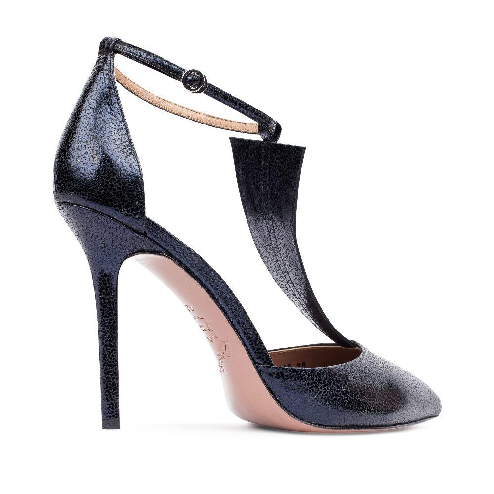 Женские босоножки CorsoComo (Корсо Комо) Туфли из фактурной кожи темно-синего цвета