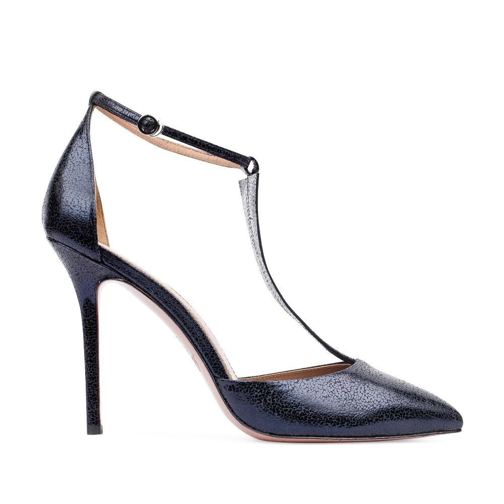 Туфли из фактурной кожи темно-синего цвета