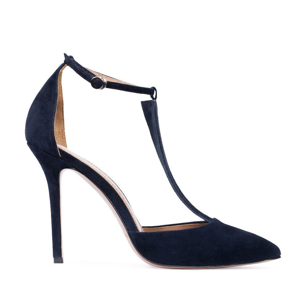 Туфли из замши синего цвета с ремешком на высоком каблуке