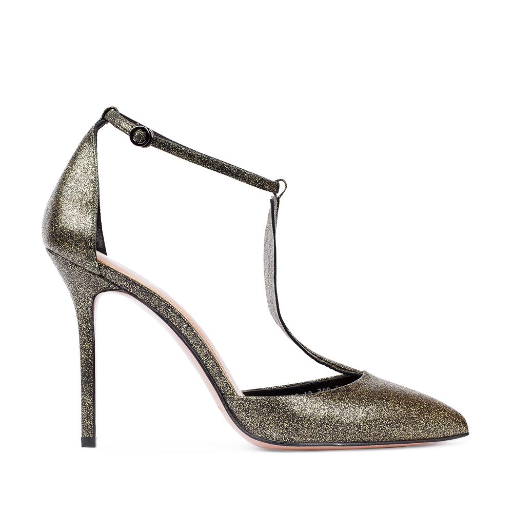 Туфли из металлизированной кожи золотистого цвета на высоком каблуке