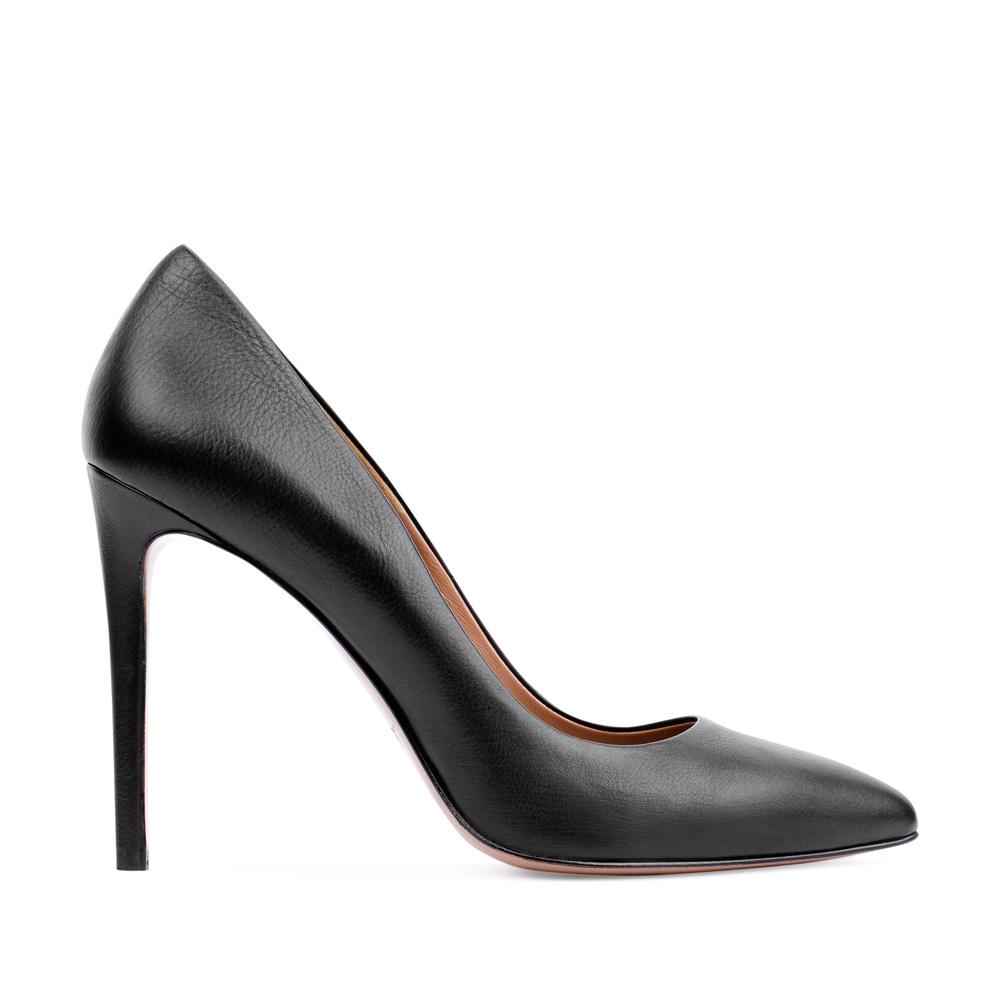 Туфли-лодочки из кожи черного цвета на высоком каблукеТуфли женские<br><br>Материал верха: Кожа<br>Материал подкладки: Кожа<br>Материал подошвы: Кожа<br>Цвет: Черный<br>Высота каблука: 10 см<br>Дизайн: Италия<br>Страна производства: Китай<br><br>Высота каблука: 10 см<br>Материал верха: Кожа<br>Материал подкладки: Кожа<br>Цвет: Черный<br>Вес кг: 0.43000000<br>Выберите размер обуви: 38
