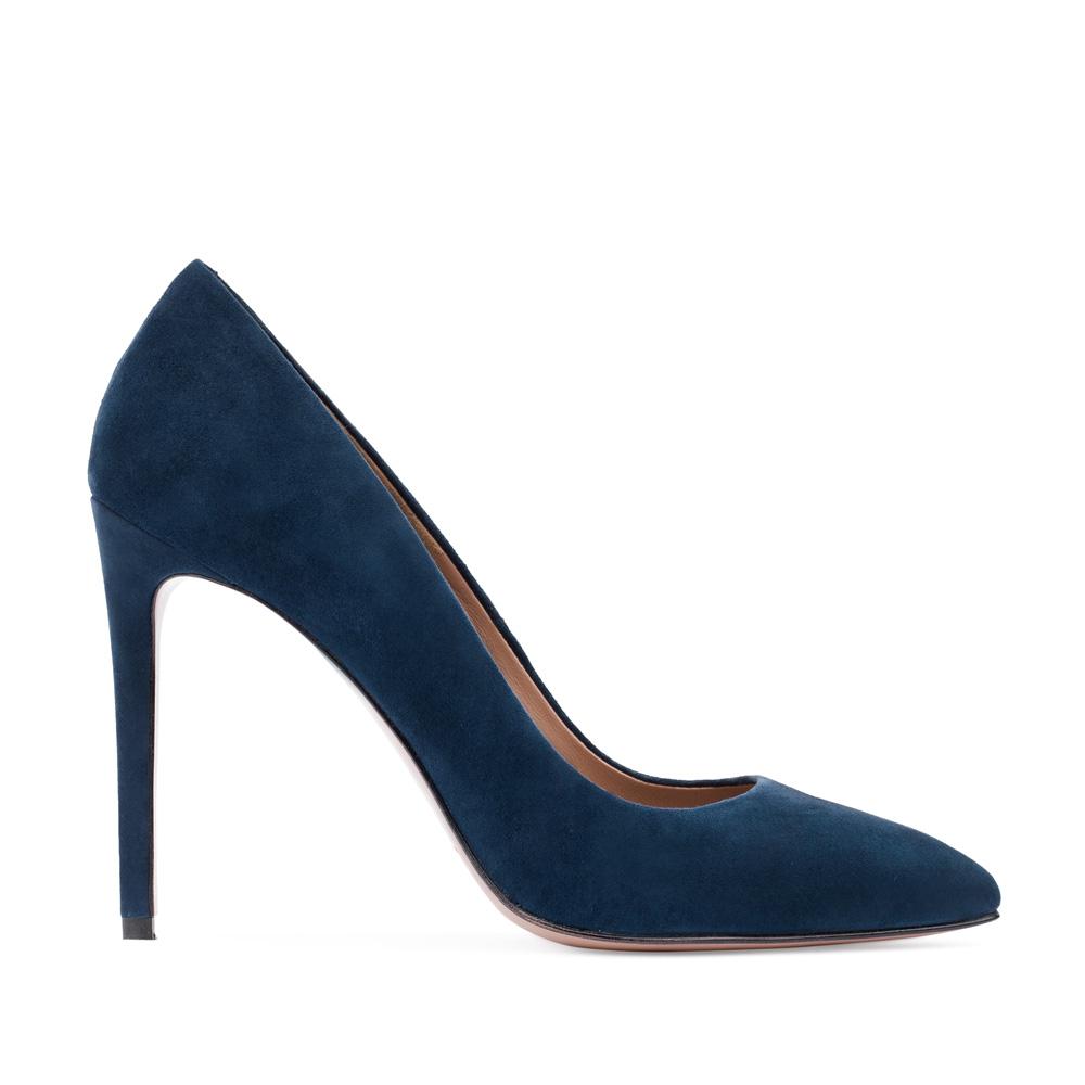 Туфли из замши сапфирового цвета на высоком каблуке